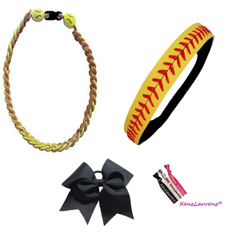 Softball Headband Set - Leather Headbands Yellow Black Ponytail Holder Titanium Necklace Bow Hair Ties by Kenz Laurenz (Softball Set Headband Bow Necklace). Kenz Laurenz Softball Set - Lots to Choice From. Kenz Laurenz Softball Assessories are Comfortable to Wear During The Game or for Fun. Kenz Laurenz fits most. Kenz Laurenz Softball Headbands are Designed with you in mind. Buy Kenz Laurenz® - Always the Best quality at the Best Price...Message us about other Sets.