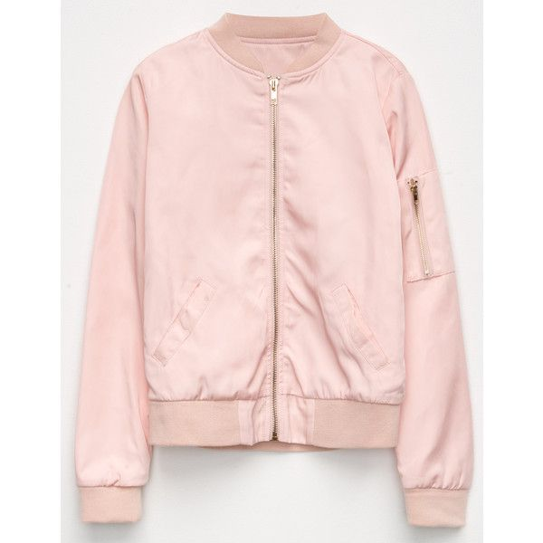 Full Tilt Girls Bomber Jacket ($30) ❤ liked on Polyvore featuring outerwear, jackets, full tilt, flight jacket, blouson jacket, bomber jacket and zip front jacket