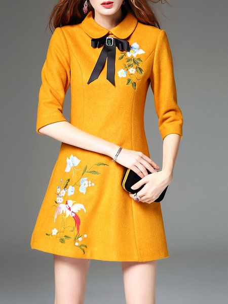 Shop Mini Dresses - Yellow Peter Pan Collar Embroidered Half Sleeve A-line Mini Dress online. Discover unique designers fashion at StyleWe.com.