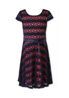 Speechless NavyCoral Navy and Coral Lace Dress - Girls 7-16
