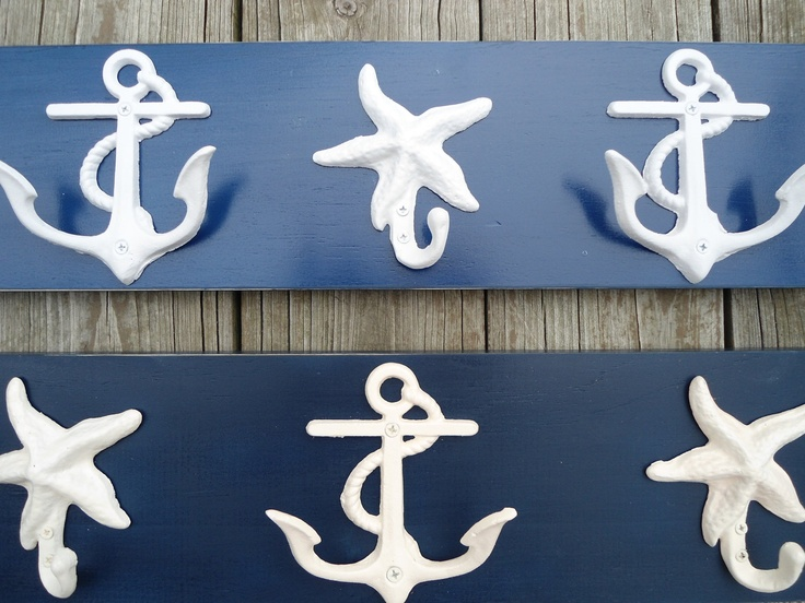 anchor wall hooks, sailor, boat, cabin, beach decor, distressed wood, cottage chic, Shabby chic wooden coat rack, beach towel holder. $44.00, via Etsy.