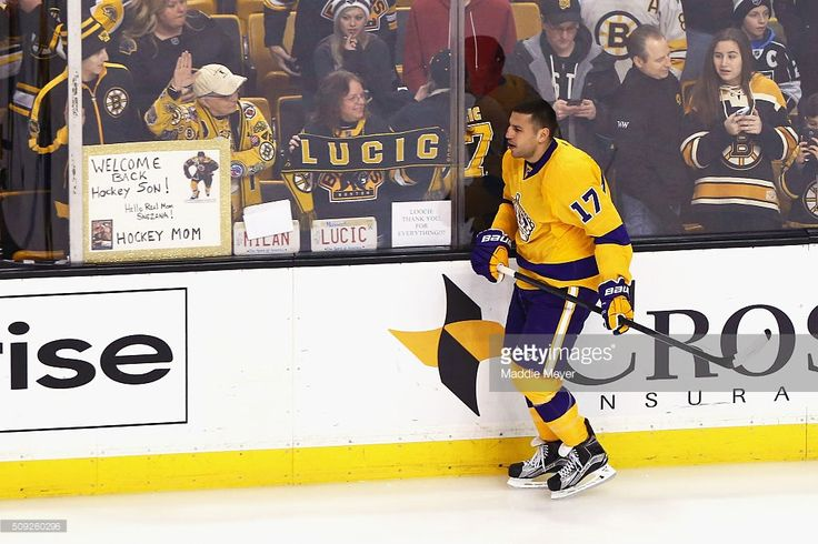 Milan Lucic #17 of the Los Angeles Kings warms up before the game against the Boston Bruins at TD Garden on February 9, 2016 in Boston, Massachusetts.