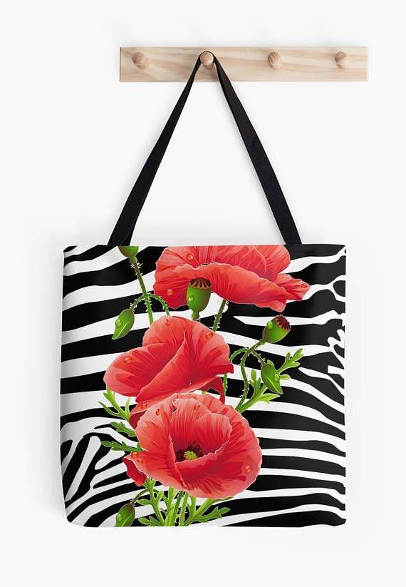 Zebra red poppies Tote bag/ yoga bag Tattoo wolf beach