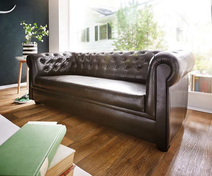 Sofa Chesterfield 200x90 Cm Braun Abgesteppt 3 Sitzer
