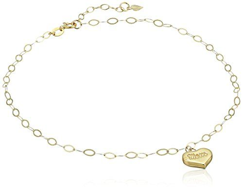14k Yellow Gold Heart Mom Charm Anklet  9 + 1 Extender.More info for black anklets online;sterling silver anklets;trendy anklets;kundan anklets;sterling silver anklet chain could be found at the image url.(This is an Amazon affiliate link and I receive a commission for the sales)