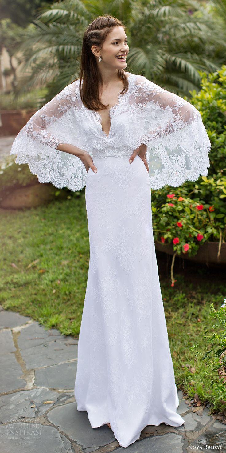 NOYA BRIDAL 2016 cape flutter sleeves v neck sheath lace wedding dress (1207) mv bohemian romantic #bridal #wedding #weddingdress #weddinggown #bridalgown #dreamgown #dreamdress #engaged #inspiration #bridalinspiration #weddinginspiration