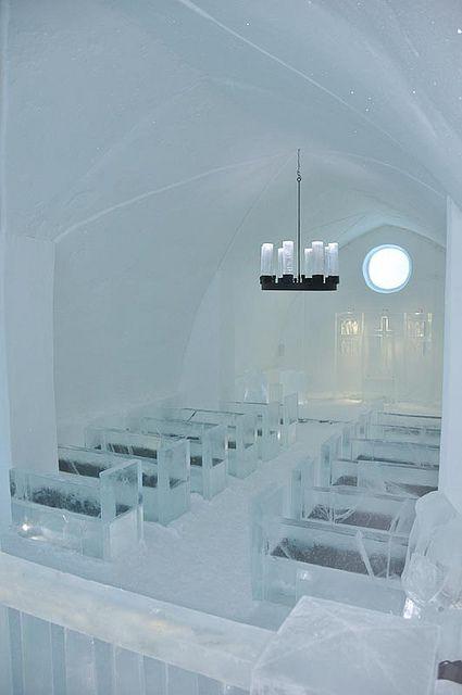 Church at the Ice Hotel.   Unique Hotels   Hotel Interior Designs http://hotelinteriordesigns.eu/ #hotel #interior #design