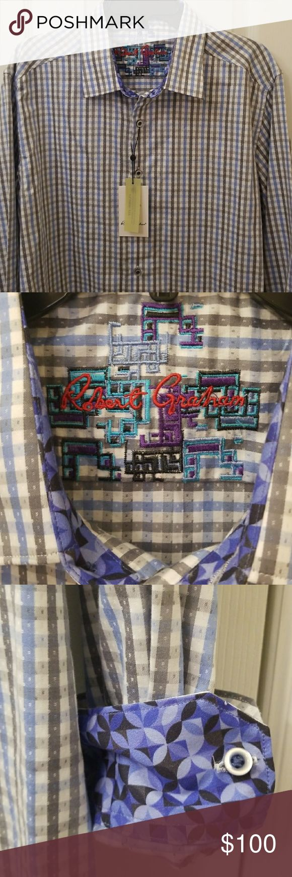 Robert Graham  Shirt  Size XL  NWT Mens Robert Graham button down shirt size XL - brand new with tags - never used - beautiful Robert Graham detail on the sleeve cuff  - chek pattern pre owned NEVER USED - blue , grey & white chek pattern, classic fit Robert Graham Shirts
