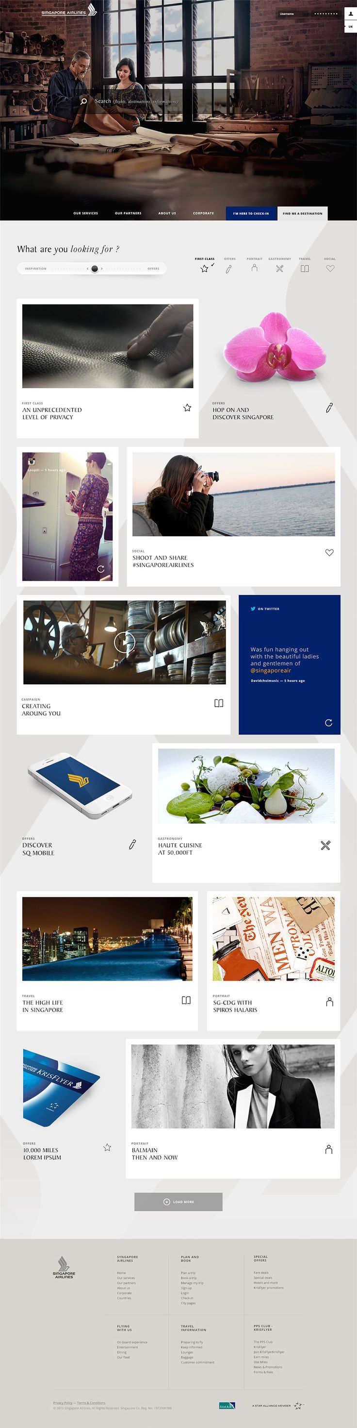 We think the stunning photography used on Singapore Airlines' really sets this website design apart from the rest! #webdesign #photography