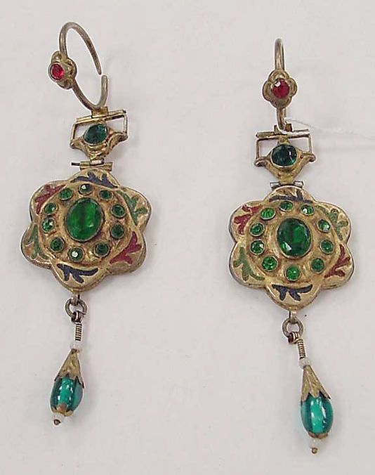 Earrings, metal and stone, India, probably 19th century
