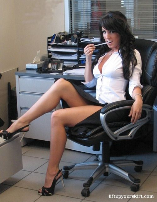 Seductive librarian masturbate in her chair exciting a customer 3