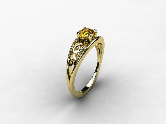 Imperial Topaz Engagement Ring Filigree Ring White Gold