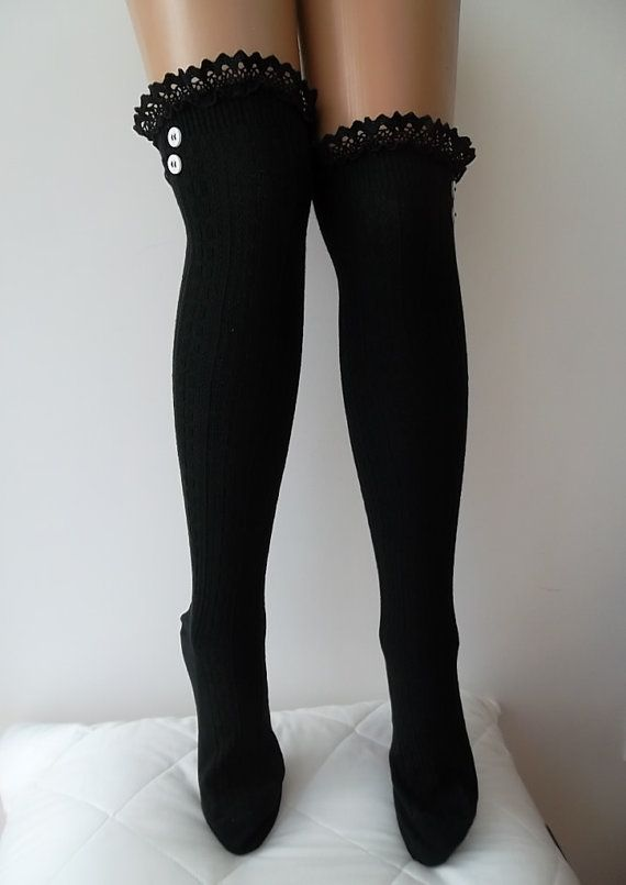Black Boot Socks lace and button socks by CarnavalBoutique,