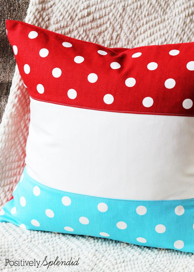 Patriotic color block pillow. These are so great for using all summer long! #ultimateredwhiteandblueBlock Pillows, Seuss Theme, Polka Dots, Sewing Projects, Summer Long, Patriots Decor, Patriots Colors, Patriots Block, Colors Block