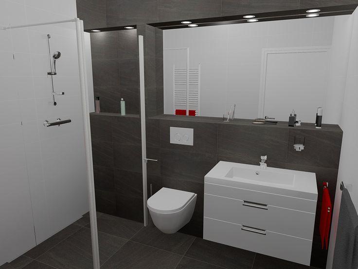 Betegelde verhoging als planchet en of inbouwreservoir over de gehele achterwand van badkamer - Model betegelde badkamer ...