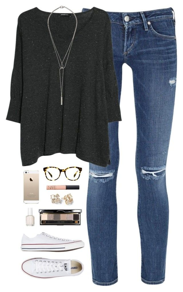 ootd 1.13.15 by classically-preppy on Polyvore featuring MANGO, Citizens of Humanity, Converse, Warby Parker, Bobbi Brown Cosmetics, NARS Cosmetics, Essie and Kate Spade