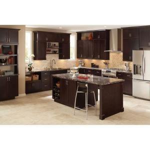 hampton bay shaker assembled 24x36x12 in diagonal corner wall kitchen cabinet in java kwd2436 on kitchen cabinets java id=66695