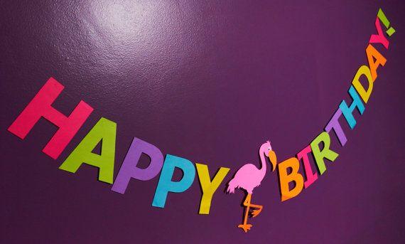 Happy Birthday Flamingo Banner  Luau Birthday  Luau by LoveMischka