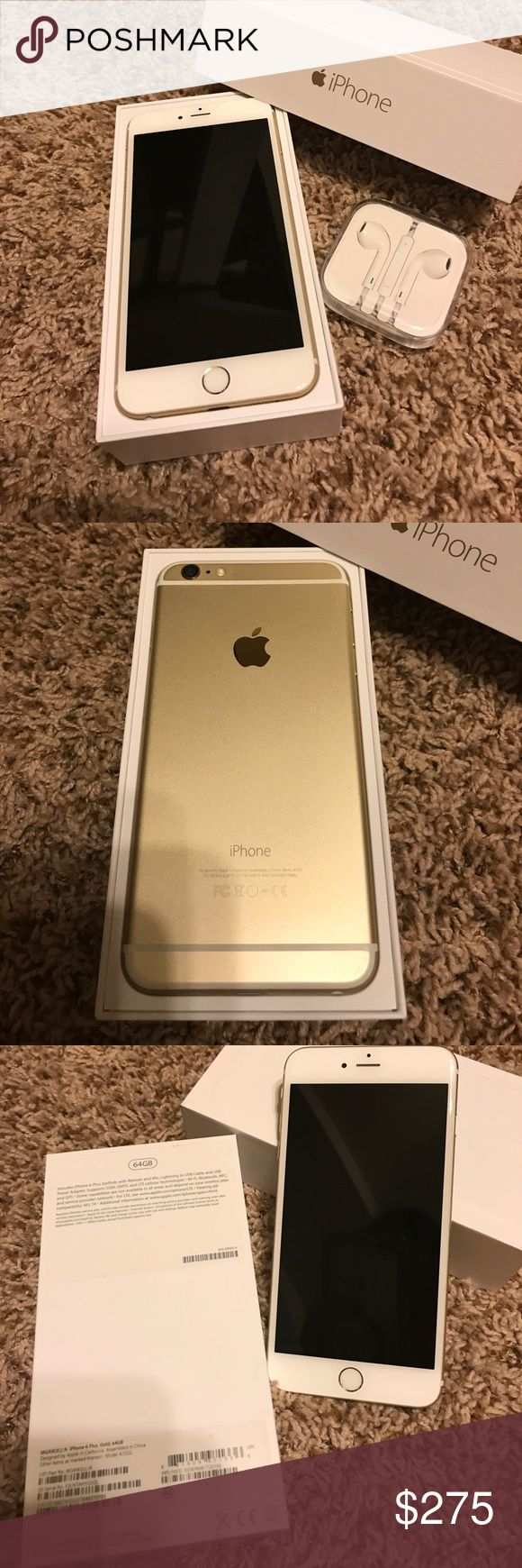EXCELLENT condition 64G iPhone 6 Plus. EXCELLENT used condition 64G iPhone 6 Plus. Box and brand new headphones included. The original paperwork is also in the box. This phone has always been kept in a case and always had a screen protector on it! This phone looks flawless and brand new! The only reason I am getting rid of it is because I upgraded to the iPhone 7 plus 256G. This phone has a TON of life left in it! :) Apple Other