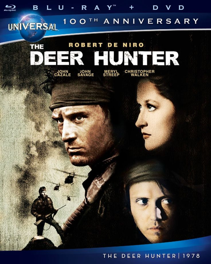 The Deer Hunter (1978) ($11.49) http://www.amazon.com/exec/obidos/ASIN/B006TTC5DQ/hpb2-20/ASIN/B006TTC5DQ The effect of war on the human soul, though the film is set in Vietnam, it can really be any war,anywhere,at any point in time. - This movie is one of the best I have ever seen. - Robert De Niro is the headliner, followed by Best Supporting Actor winner Christopher Walken, Meryl Streep, John Savage, and John Cazale in his very last film role.