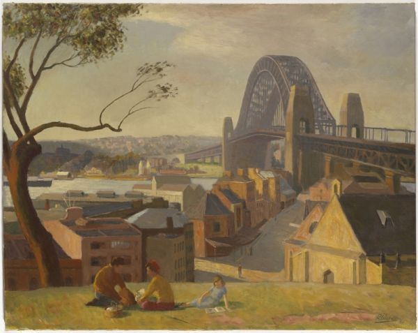 Roland Wakelin Picnic at The Rocks, Sydney Harbour Bridge