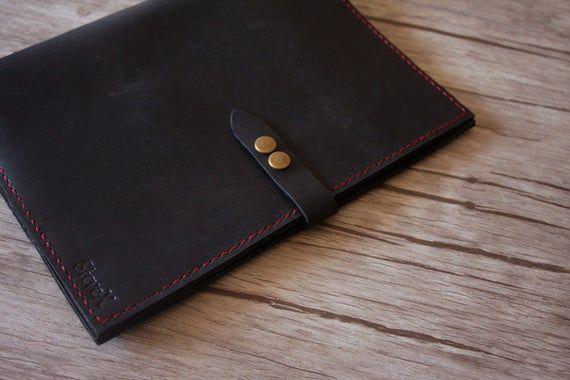 Personalized MacBook Pro Case Bags, Black Leather MacBook Covers, MacBook Air Sleeves, Custom All La