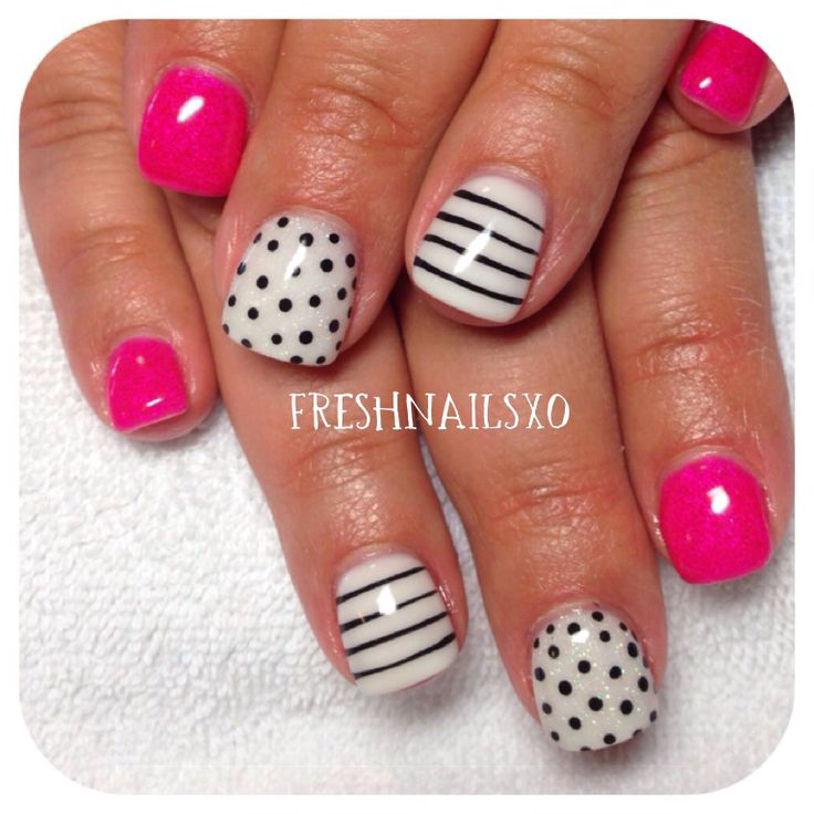 Hot pink nails | striped nails | polkadot nails | gel nails
