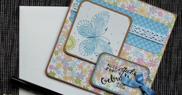 Birthday card in blue with a butterfly