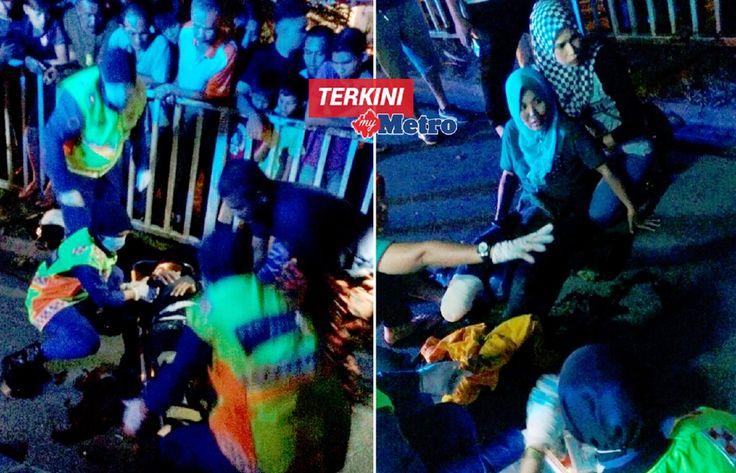 Suami isteri putus kaki kanan selepas motor dirempuh kereta yang terbabas akibat tayar pecah   Amat malang bagi satu pasangan suami isteri kerana kedua-duanya putus kaki kanan selepas motosikal dinaiki mereka dirempuh kereta yang terbabas akibat tayar depan pecah di Jalan Tengku Mizan berhampiran satu stesen minyak dekat Bukit Tunggal di sini semalam.  Suami isteri putus kaki kanan selepas motor dirempuh kereta  Dalam kejadian kira-kira 10.30 malam itu Mohd Isa Mohd Shariff 43 bersama…