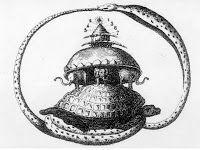 Le figure di questa coppia primordiale, principio della manifestazione del maschile e del femminile, sono raffigurate con il basso ventre a forma di Serpente, avvolte tra loro in una sorta di amplesso ancestrale. Mitologia cinese.