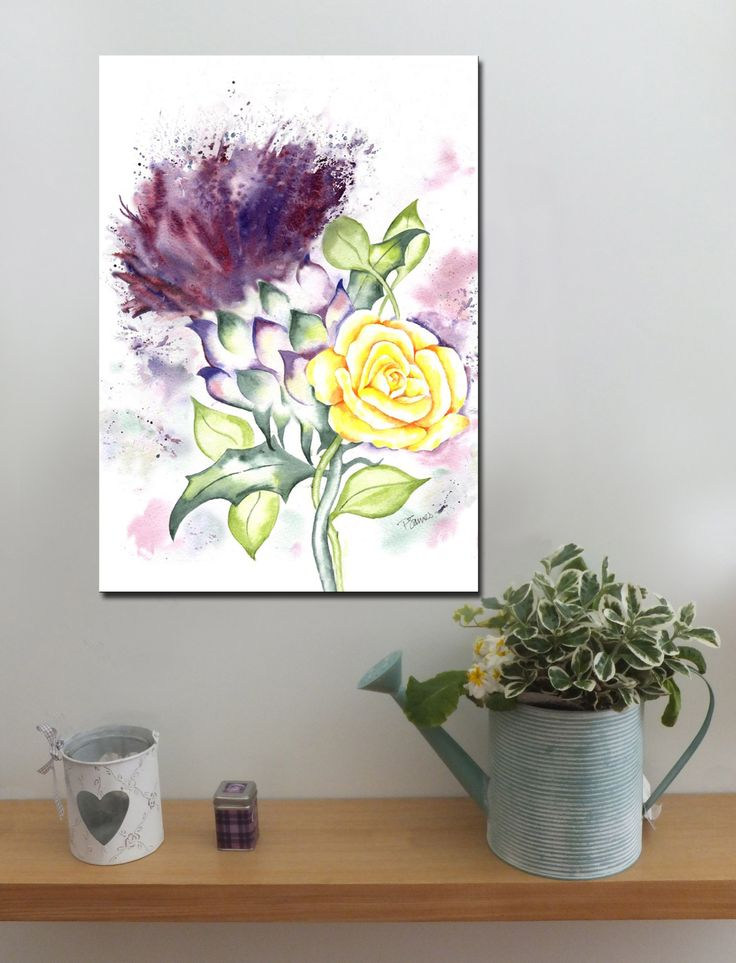 Scottish Thistle and yellow Rose http://www.splashyartystory.com/shop/art-prints/thistle-and-yellow-rose-art-print-of-painting/