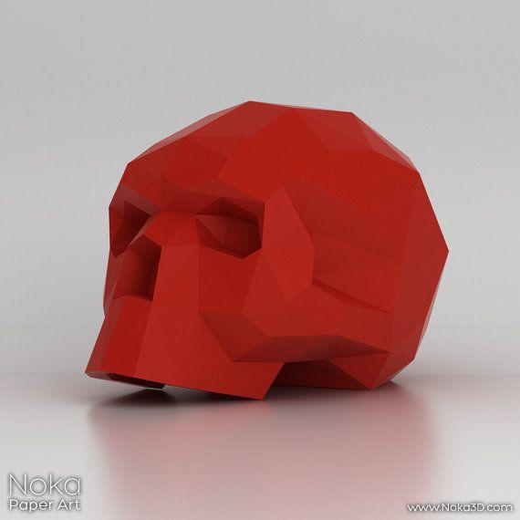 Cráneo humano modelo 3D papercraft. Plantilla por NokaPaperArt