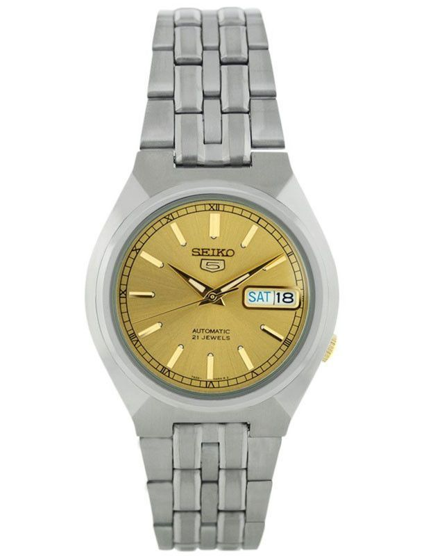 Seiko SNK303K Men's Gold Dial 30M WR Stainless Steel Watch