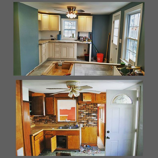 Some before and after of the kitchen. Still need the back splash and we are pretty much good to go.  #beforeandafter #kitchencabinets #kitchen #home #house #contractor #rhodeisland #trending #diy #hgtv #new #tile #anderson #cabinets #homeowner