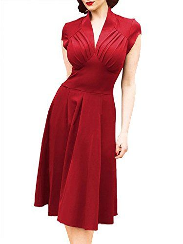 Luouse Women's Deep-V Neck Elegant Cap Sleeve Vintage Bridesmaid Dress Luouse http://smile.amazon.com/dp/B00ZFMIL72/ref=cm_sw_r_pi_dp_YUaVvb0NKZTRQ