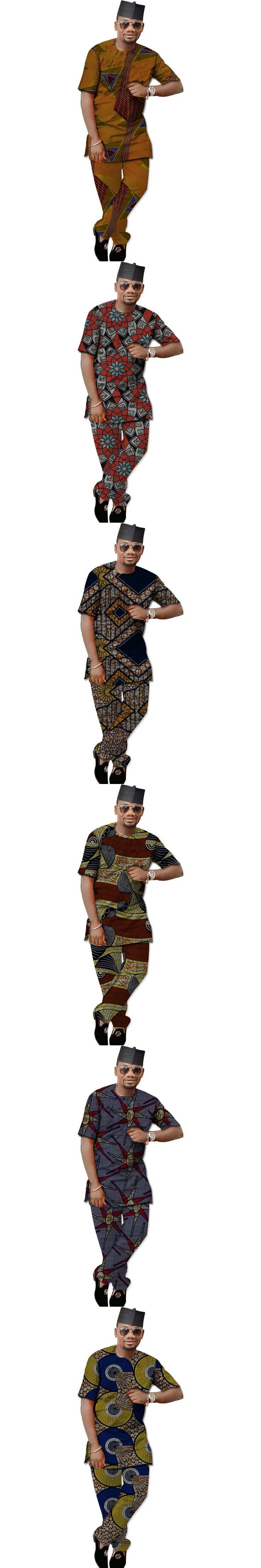 Fashion african t shirt men dashiki tops with trousers set colourful print africa clothing customized
