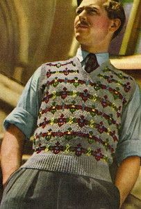 Vintage 1940s fair isle design mens pullover jumper pattern-free UK postage