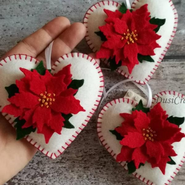 Felt Poinsettia Ornament White Heart Ornament With Red Poinsettia Flower Christmas Decoration Valentines Decor Made To Order In 2020 Felt Crafts Christmas Felt Christmas Decorations Felt Christmas Ornaments