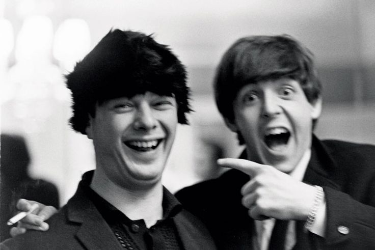"Paul with Brian Epstein. Great photo!  In 1963-1964 (65) they sold cheap ""BEATLE WIGS"" and plastic cake toppers of the Beatles, it was the FIRST Band that got marketed the way successful acts are 'branded' now. Tennis Shoes w/Beatles faces. Troll Dolls w/Beatle Hair-do's. LONG HAIR was a REALLY BIG DEAL. Older people could NOT stop joking or whining about it."