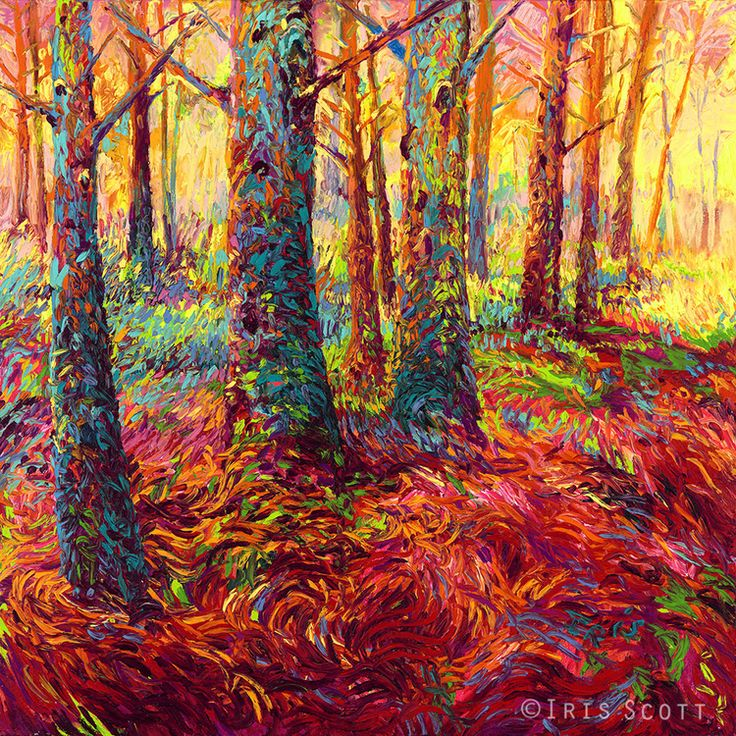 Redwood Fall fingerpainting by Iris Scott