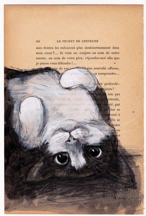 UPSIDE DOWN - VENDU - SOLD - Peinture, 19x28,5 cm ©2015 par evafialka - Art figuratif, Papier, Animaux, Chats, cat, upside down