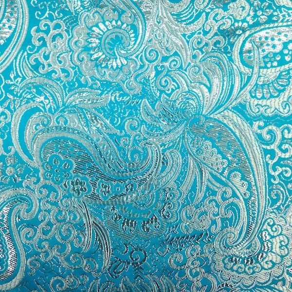 """Turquoise / Silver Paisley Brocade Fabric #100%-Polyester #60""""-inch #apparel-fabric"""