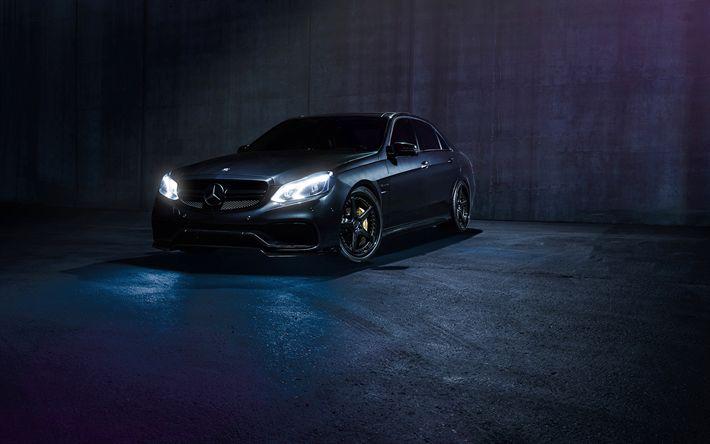 Herunterladen hintergrundbild mercedes-benz e63 amg, dunkelheit, 2017 autos, die scheinwerfer, die deutschen autos, mercedes
