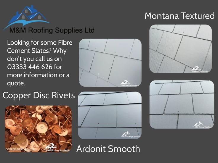 We supplies Fibre Cement Slates in a Smooth finish and Textured finish with accessories of Copper Disc Rivets and Copper Clout Nails. For more information please give us a call or email us at sales@mandmroofingsupplies.co.uk.