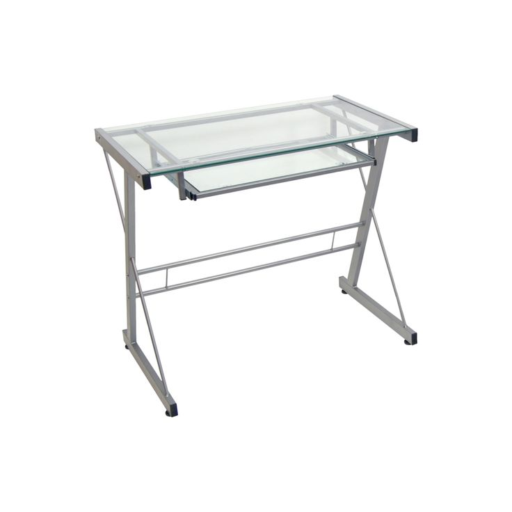Home Office Glass Metal Computer Desk - Silver - Saracina Home