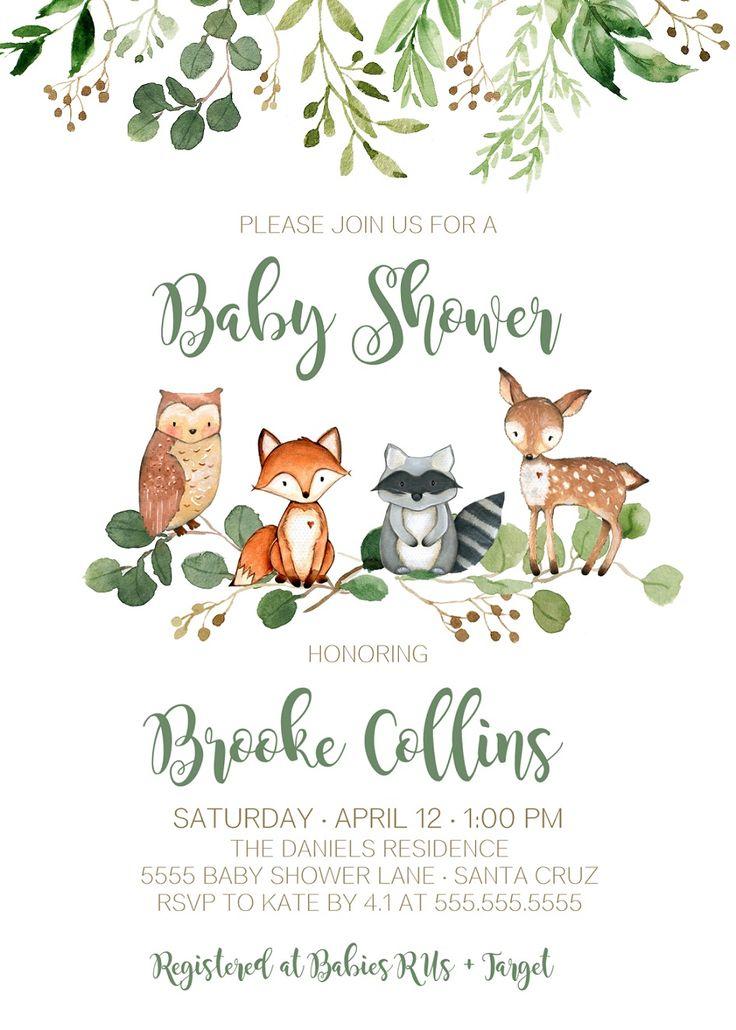 Woodland Invitation Baby Shower Boy Gender Neutral