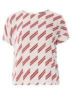 Womens Red And Ivory Stripe Soft T-Shirt- Red