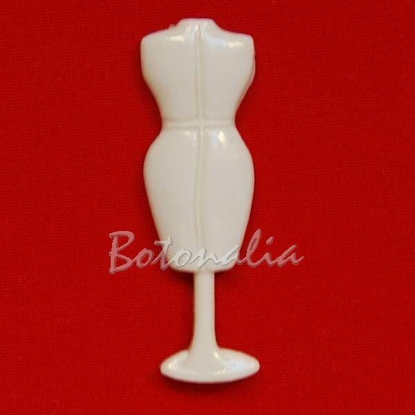 Botones con forma de maniquí de costura en una pieza con anilla posterior, color crema, perfecto para decorar muestrarios de elementos de costura.