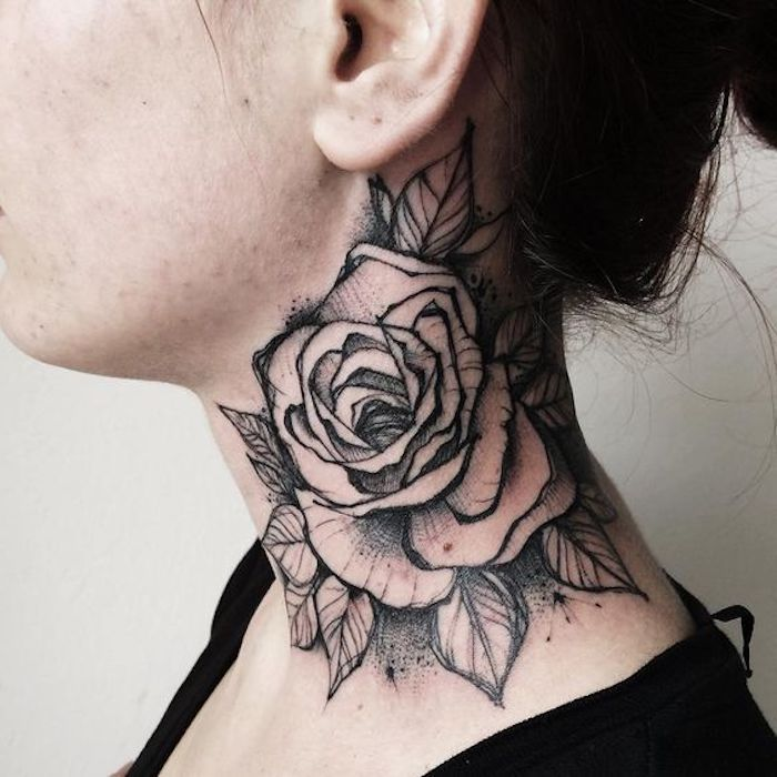 150 Cool Tattoos For Women And Their Meaning Tattoo Neck Neck Tattoo Large Rose In Black And Gray Cool Me In 2020 Neck Tattoo Rose Neck Tattoo Cool Tattoos