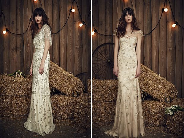 The Hilda and Lucky dresses from Jenny Packham's 2017 collection both feature all over detail for maximum wow factor. #weddingdresses #bridalstyle #bohobrides